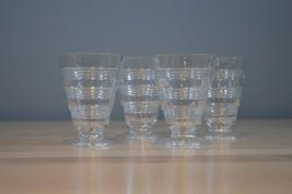 Vintage Anchor Hocking Banded Rings clear set of 4 juice glasses - $12.99