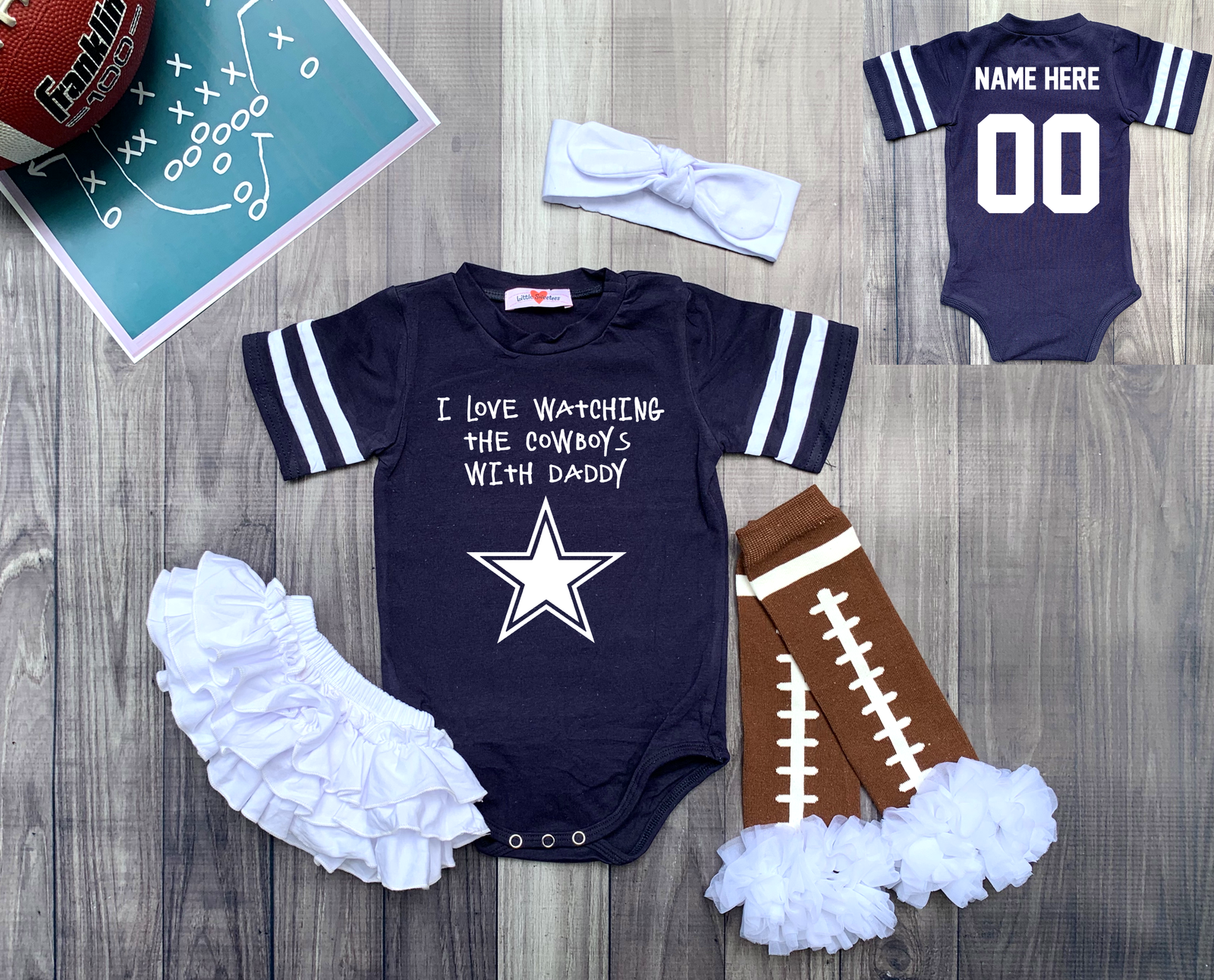 Primary image for Dallas  Cowboys Personalized Girls Football Jersey Custom Watching With Onesie
