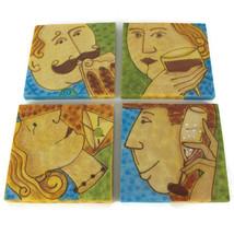 COCKTAIL COASTERS | Unique IMPRESSIONIST ART Portrait Drawings | VTG Mid... - $21.73