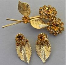 Vintage Amber Rhinestone Flower Leaf Set Brooch Clip On Earring Topaz Gl... - $17.99