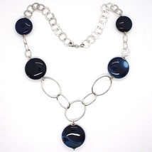 925 Silver Necklace, Agate Blue Striated, Disk, Pendant, Length 50 cm image 2