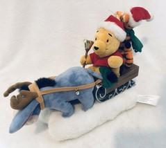 Gemmy Winnie The Pooh Christmas Sled Animated Musical Plush Figure Tigge... - $28.88