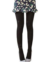Cute Floral Border Mid Thick Stockings Tights, Pure BLACK
