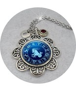 Capricorn Zodiac Necklace w-January Garnet Swarovski Birthstone Crystal ... - $15.83