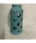 Turquoise Glass Pillar Candle Holder Circle Holes Blue Home Decor - $24.75