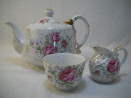 Vintage Norcrest Dresden Rose Teapot And Sugar And Creamer Set Pink Rose - $49.95