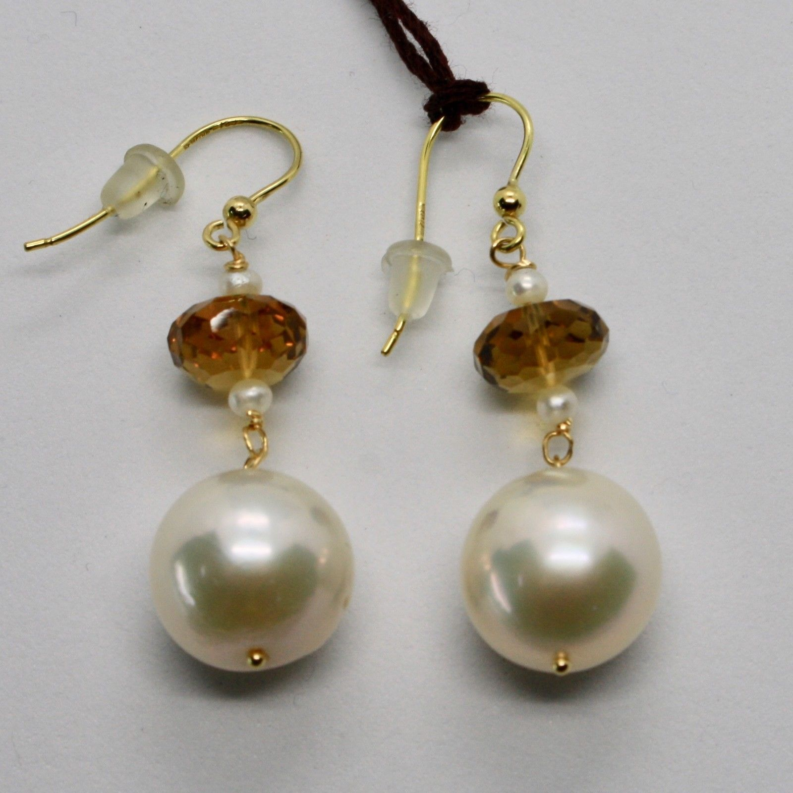 SOLID 18K YELLOW GOLD EARRINGS WITH WHITE PEARL AND BEER QUARTZ MADE IN ITALY