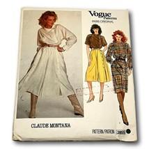 Vogue 2855 Paris Original Claude Montana Culotte Top Dress Size 8  Patte... - $29.65