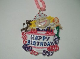 Pink Cake Happy Birthday Girl Mardi Gras Bead Party Necklace - €3,82 EUR