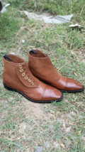 Handmade Men brown button boots, Men suede and Leather boots, Mens boots - $169.99+