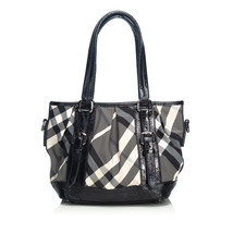 Vintage Burberry Black Canvas Fabric Beat Check Lowry Tote Bag United Ki... - $471.16