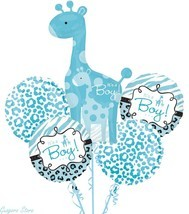 Baby Shower It's a Boy Balloon Bouquet 5pcs Safari Aminals Giraffe party... - $10.39