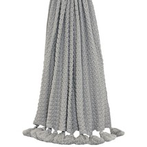 Knitted Ribbed Grey Tasselled Throw Blanket 140CM X 180CM - $49.12