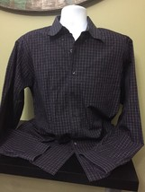 Men's Brook Brothers Navy Plaid Button Front Non-iron Size Large Free Shipping - $21.78