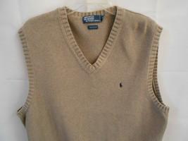 Polo Ralph Lauren Mens Beige Tan Large Sweater Vest Cotton Golf Casual - $29.99