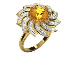 1.76Ct Round Cut Citrine & Sim.Diamond Fancy Wedding Ring In 14K Yellow ... - £115.20 GBP