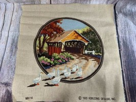 VTG 1985 Monarch Horizons Needlepoint Completed MH14 Covered Bridge 14x14 - $12.20