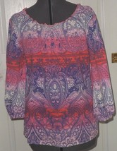 CARIBBEAN JOE PEASANT BLOUSE TOP SIZE S - M PURPLE PINK PAISLEY MSRP:$42... - $14.99