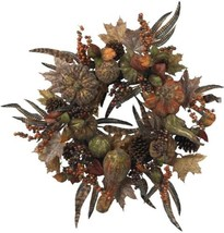 28 in Artificial Wreath Autumn Pumpkin Berries Feather Home Holiday Deco... - $89.17