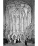 BELGIUM Liege Saint James Cathedral Interior - SUPERB 1843 Lithograph Print - $39.60