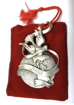 2000 Avon Pewter Christmas Ornament Peaceful Millenium Original Box & Ve... - $23.33