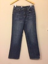 Talbots Womens 6P Straight Jeans Medium Blue Wash Stretch Denim Q3 - $11.88
