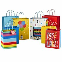 """Hallmark 9"""" Medium and 13"""" Large Gift Bags Assortment Pack of 8; 4 Large and 4 M"""