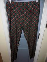 LuLaRoe Leggings Black W/Green Design & Red Flower Size TC Women's EUC - $27.59