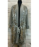 Peter Alexander Signature Robe Silver Sequins Attached Wrap Belt Size XS... - $38.88