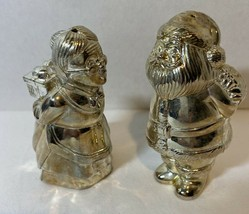 Lenox Santa and Mrs. Claus Kissing Salt & Pepper Shakers Silver Plated - $15.99