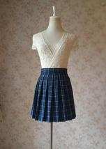 NAVY Blue PLAID Skirt Pleated Plaid Skirt School Mini Plaid Skirt US0-US16 image 2