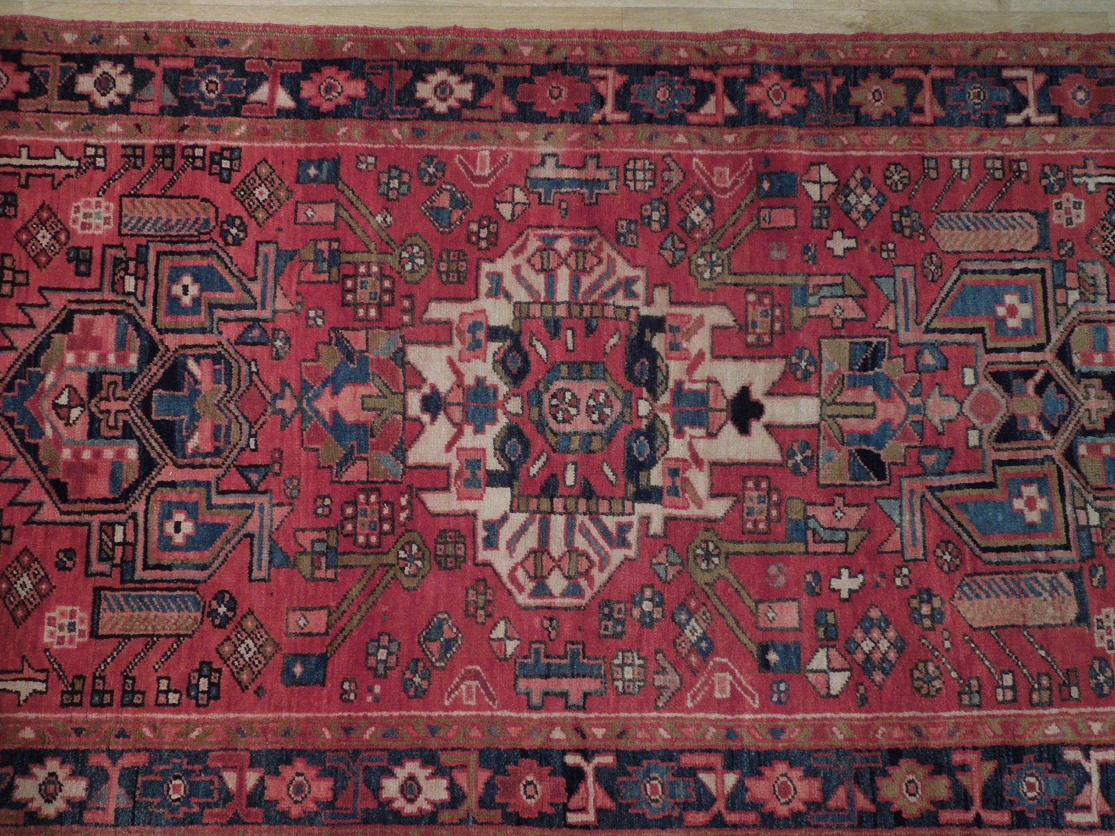 Tribal Inspired Olde Runner Persian Hand-Knotted 2' x 11' Red Heriz Wool Rug image 6
