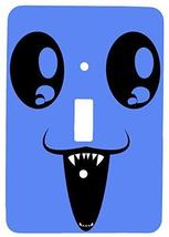 Single Toggle Metal Light Switch Cover with Happy Monster Design (Blue) - $9.25