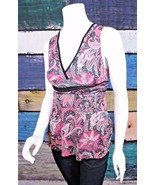 Anthropologie Small S Sweet Pea Pink Black Floral Stretch Mesh Peplum Tank Top - $14.84