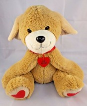"""Mrs Fields Dog Plush Caramel Be Mine Sits 10"""" Tall Valentines Stuffed An... - $6.95"""