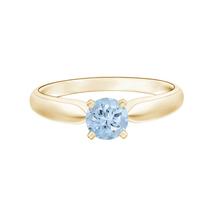 9K Yellow Gold Tapered Shank 5 MM Round Solitaire Aquamarine Ring - $200.56