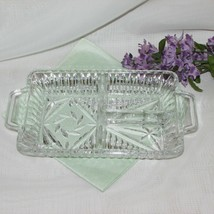 PINWHEEL CRYSTAL DIVIDED RELISH DISH TAB HANDLES VINTAGE HEAVY GLASS ELE... - $15.23
