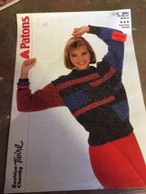 New Vtg Patons Knitting Pattern Women's Sweater Beehive Chunky 3048 1987 - $7.79