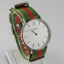 CAPITAL WATCH QUARTZ MOVEMENT 36 MM CASE GREEN AND RED FABRIC BAND NYLON VINTAGE image 1