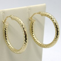 18K YELLOW GOLD CIRCLE HOOPS TUBE TWISTED HAMMERED EARRINGS 25 MM, MADE IN ITALY image 1