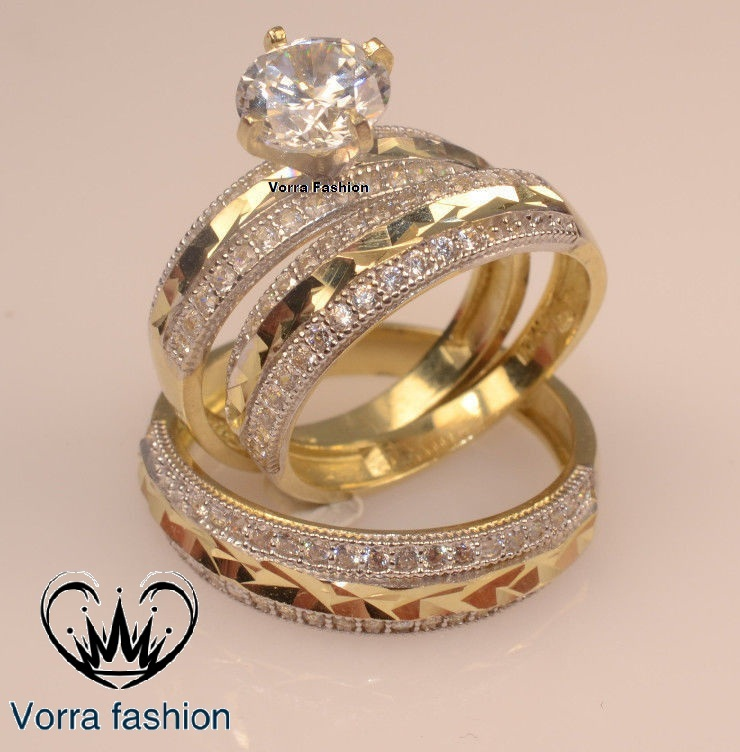 Primary image for Men Ladies Yellow Gold 925 Silver Trio Set Wedding & Engagement Rings Bridal set