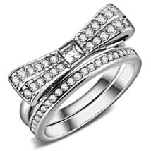 HCJ SILVER TONE 0.50 CT BOW TIE CRYSTAL ENGAGEMENT & WEDDING RING SET SZ... - $13.94