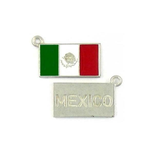 MEXICAN MEXICO FLAG EPOXY ENAMELED FINE PEWTER CHARM PENDANT - 23mm 14mmx2mm