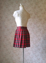 RED Pleated PLAID SKIRT Campus Style Red Plaid Pleat Skirt Red Check Mini Skirt image 9
