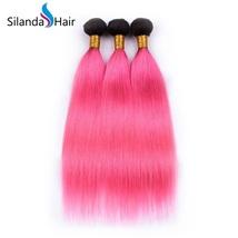 Silanda Hair 3 Bundles #1B/Pink Straight  Remy Human Hair Extensions Weft - $132.90+