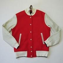 NWT Rag & Bone Edith Varsity in Red Ivory Leather Sleeve Letterman Jacke... - $160.00
