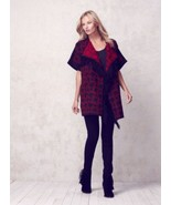 JESSICA SIMPSON size SMALL Fringed Blanket Cardigan Red/Black - $33.95