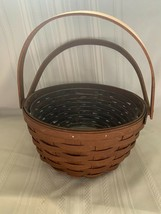 Longaberger 2009 Round Potluck Basket Rich Brown with Plastic Protector - $35.52