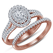Rose Gold Plated 925 Sterling Silver Oval Shape White CZ Women's Bridal Ring Set - $89.99