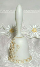 "Vintage LEFTON Egg Shell White Bisque Raised Relief Cherubs Bell  w/ Ringer 5"" image 3"
